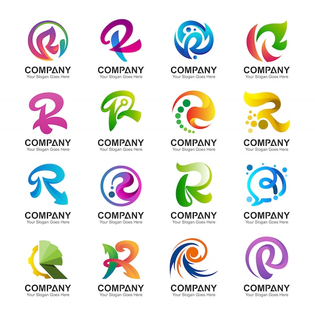 Variation de la collection du logo lettre r Vecteur Premium