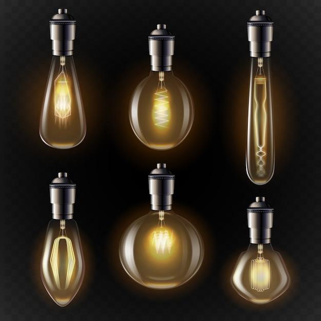 Variété D'ampoules Dans Des Tons Dorés Vecteur gratuit