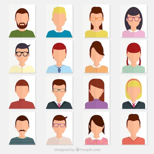 Variété d'avatars Vecteur gratuit