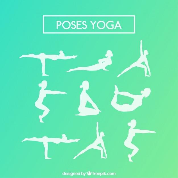 Variété de blanc silhouettes de yoga Vecteur gratuit