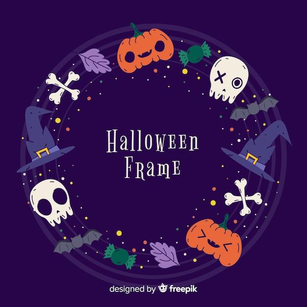 Variété de bordure de décoration halloween Vecteur gratuit