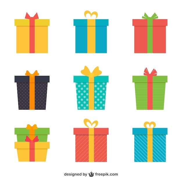 Variété de cadeaux colorés Vecteur Premium