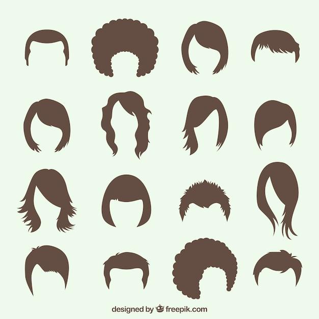 Variété de coiffures Vecteur gratuit