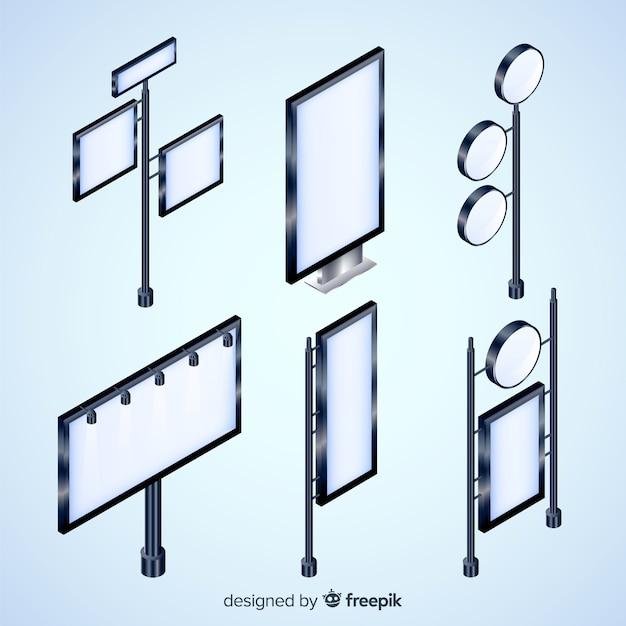 Variété de collection de designs de panneaux d'affichage isométrique Vecteur gratuit