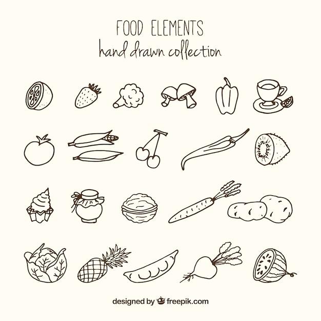 Variété croquis d'aliments sains Vecteur gratuit
