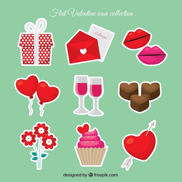 vari t de bonbons autocollants et des objets pour valentine t l charger des vecteurs gratuitement. Black Bedroom Furniture Sets. Home Design Ideas