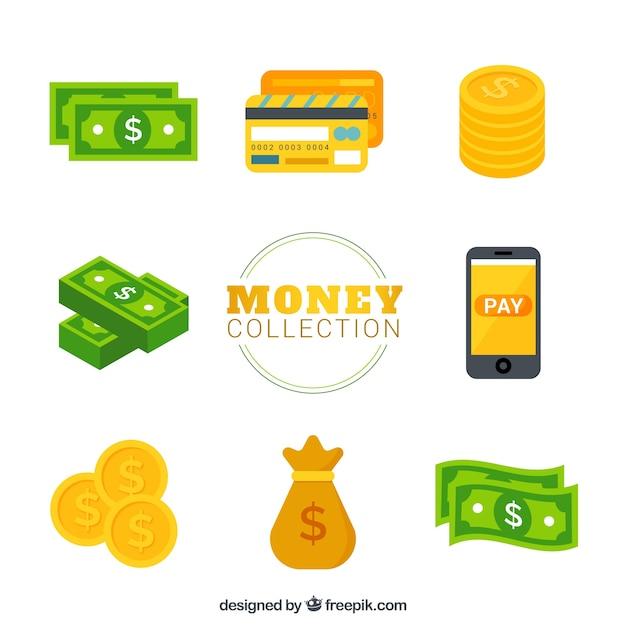 Variété de factures avec des pièces de monnaie et d'autres éléments Vecteur gratuit