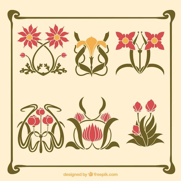 vari t de fleurs artistiques dans le style art nouveau t l charger des vecteurs gratuitement. Black Bedroom Furniture Sets. Home Design Ideas