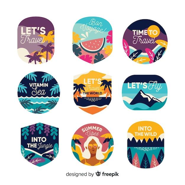 Variété de design plat d'étiquette de voyage vintage Vecteur gratuit