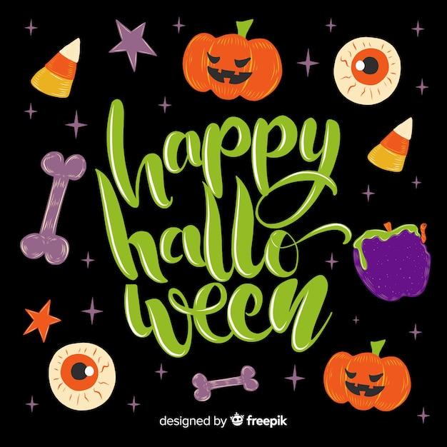 Variété d'éléments pour le lettrage d'halloween heureux Vecteur gratuit