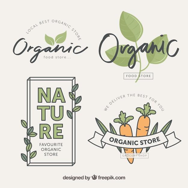 Une variété d'étiquettes alimentaires biologiques en conception plate Vecteur gratuit