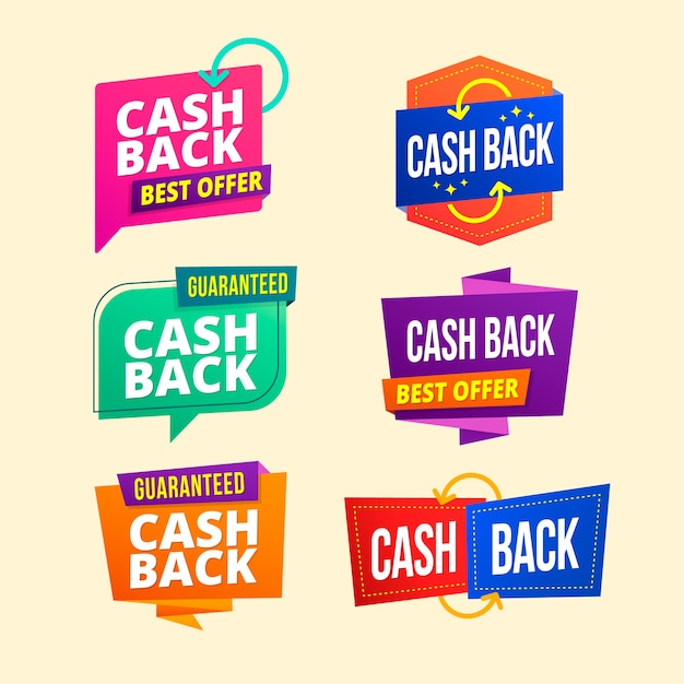 Variété D'étiquettes De Cashback Vecteur gratuit