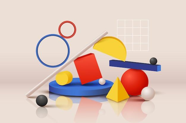 Variété de formes géométriques colorées Vecteur gratuit