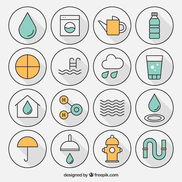Variété de l'icône de l'eau Vecteur gratuit