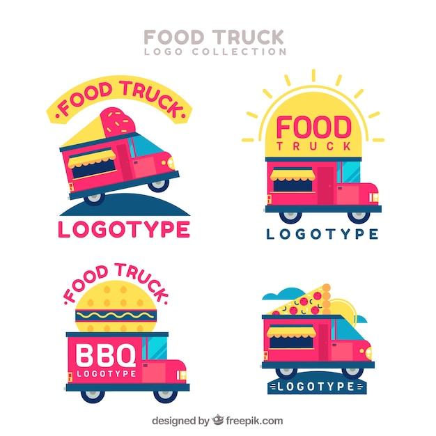 Variété De Logos De Camions Alimentaires Roses Vecteur gratuit