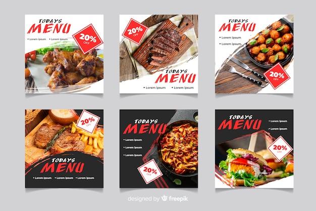 Variété de menus de viande instagram post collection Vecteur gratuit