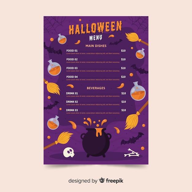 Variété de modèle de menu de décoration halloween Vecteur gratuit