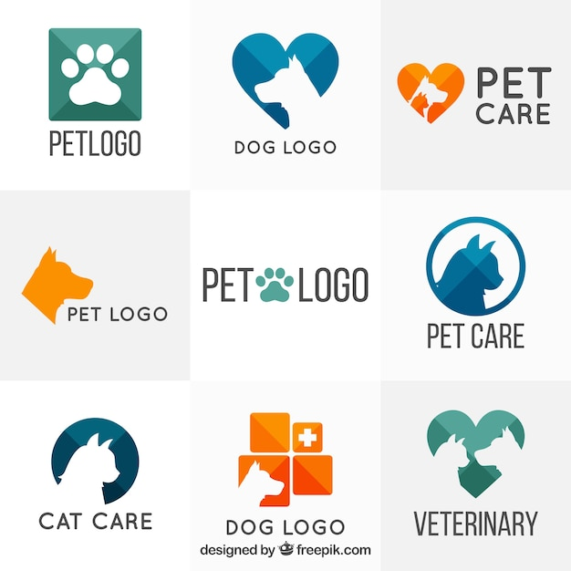 Variété de modèles de logo vétérinaire Vecteur gratuit