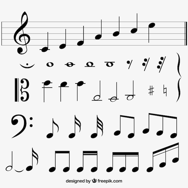 Variété de notes musicales plates Vecteur gratuit