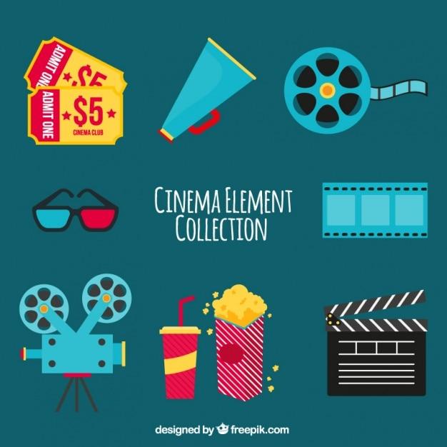 Variété d'objets de cinéma en design plat Vecteur gratuit