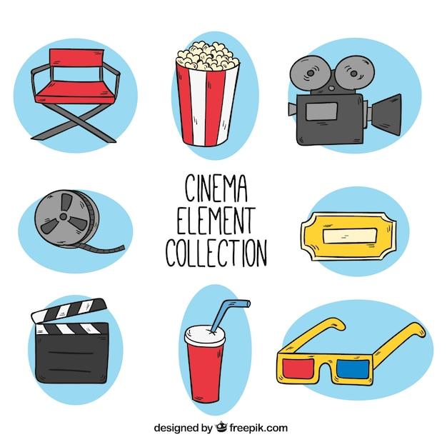 Variété d'objets de films dessinés à la main Vecteur gratuit