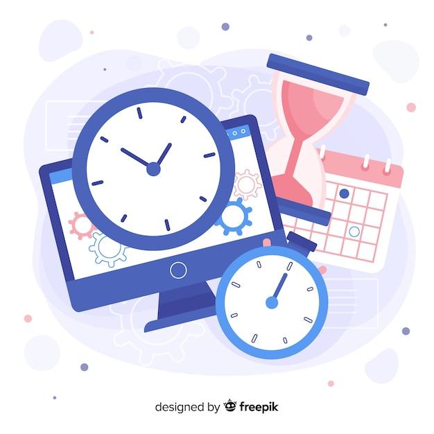 Variété D'objets Qui Montre Le Temps Vecteur gratuit