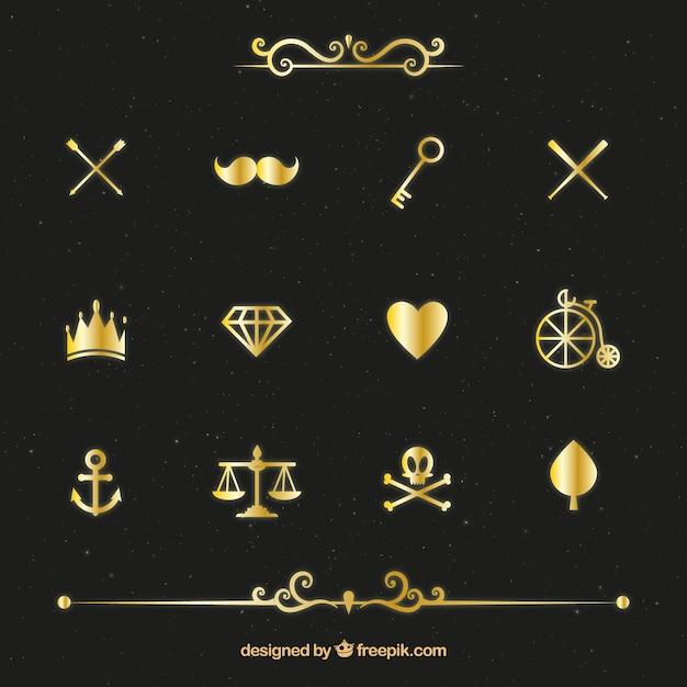 Variété d'or éléments pack Vecteur gratuit