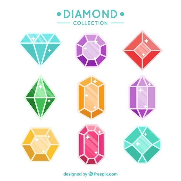 Variété de pierres précieuses avec différentes couleurs et modèles Vecteur gratuit