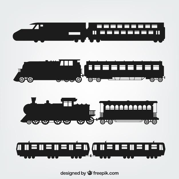 Variété de silhouettes de train Vecteur gratuit