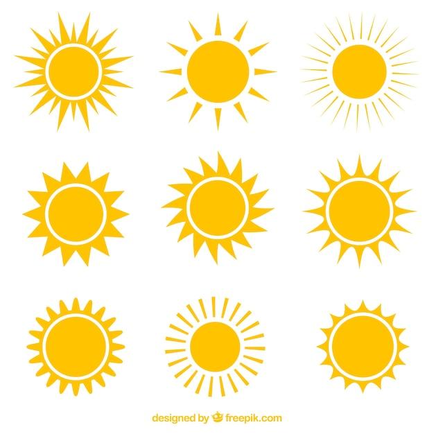 Variété de soleils icônes Vecteur gratuit