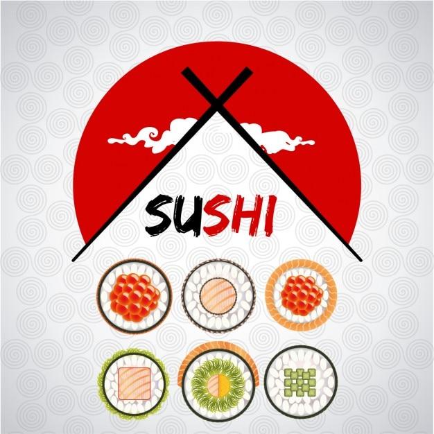 Variété De Sushi Logo Vecteur gratuit
