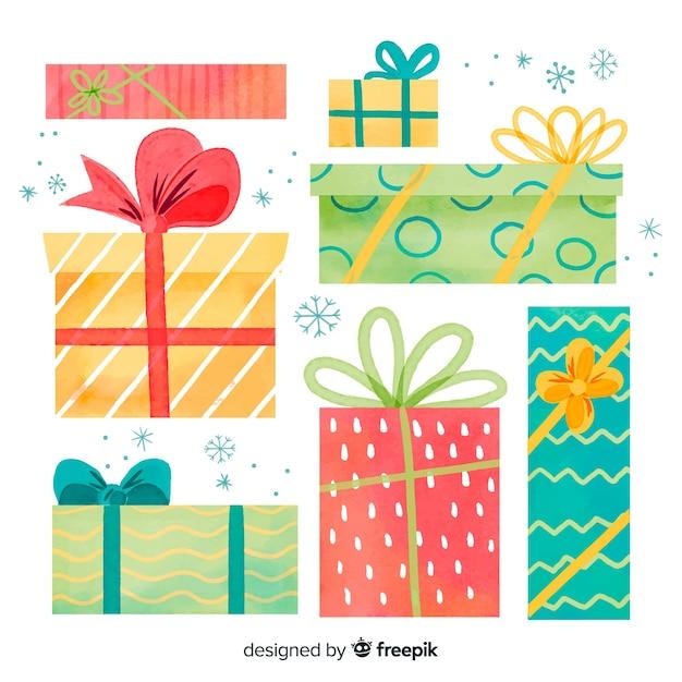Variété de tailles et de formes de coffrets cadeaux de noël Vecteur gratuit