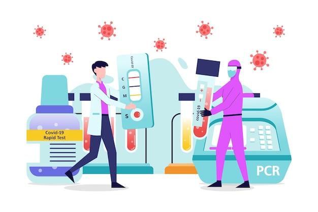 Variété De Tests Négatifs Et Positifs Pour Les Coronavirus Vecteur gratuit