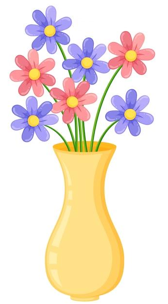 Vase jaune avec des fleurs violettes et roses Vecteur Premium