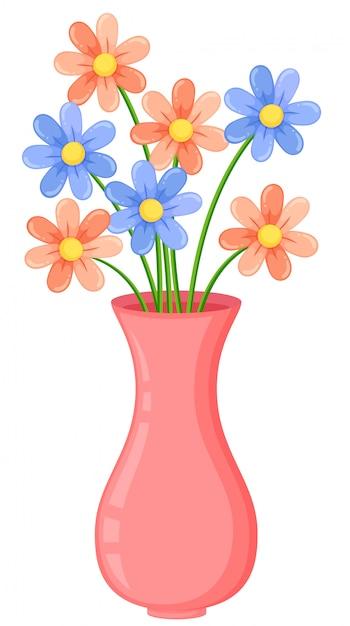 Un vase rose avec des fleurs Vecteur Premium