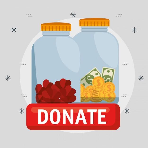 Vases avec de l'argent pour un don de charité Vecteur gratuit