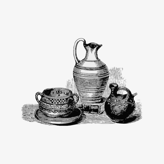 Vases romains antiques Vecteur gratuit