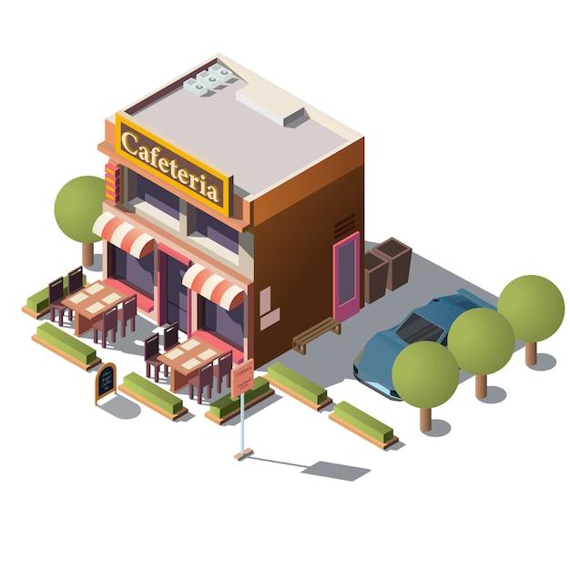 Vecteur 3d cafétéria isométrique, restaurant avec véranda Vecteur gratuit
