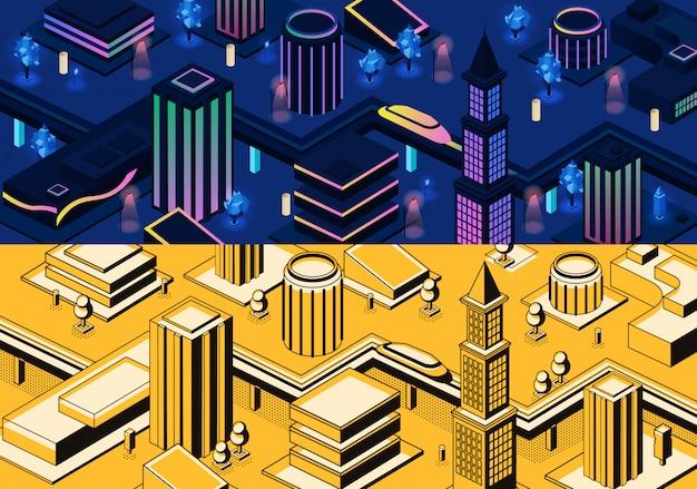 Vecteur 3d isométrique ville moderne - métropole en couleurs bleus et jaunes ou ville en style de trait Vecteur gratuit