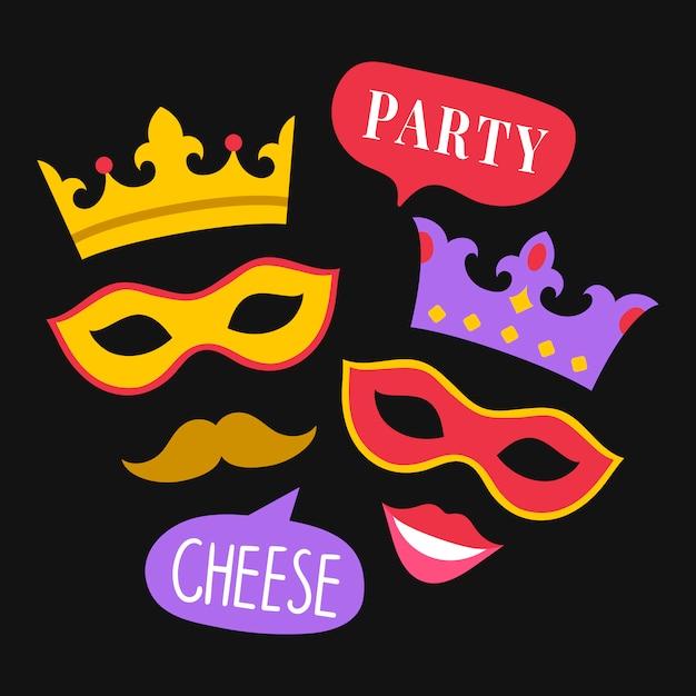 Vecteur d'accessoires party photo stand Vecteur gratuit