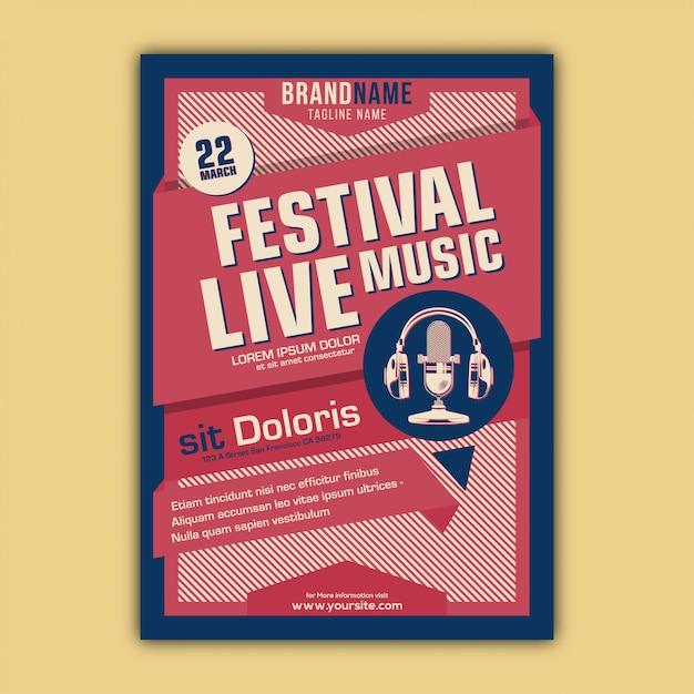 Vecteur d'affiche de festival de musique avec style vintage et rétro Vecteur Premium