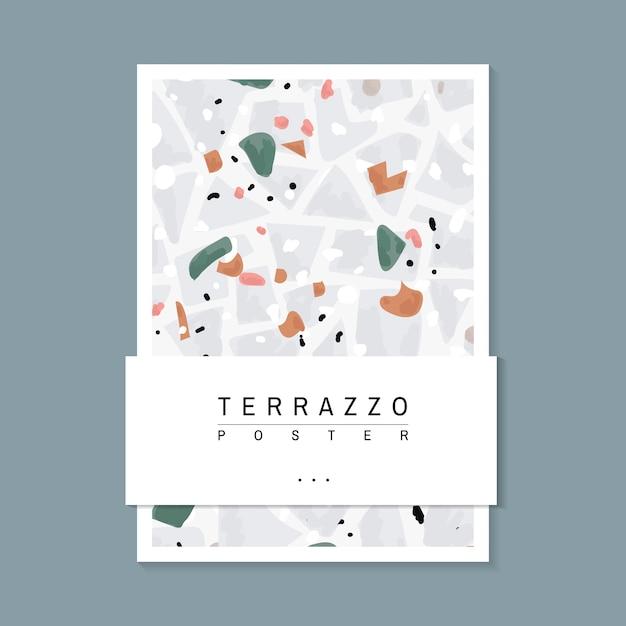 Vecteur d'affiche pour le motif coloré terrazzo Vecteur gratuit