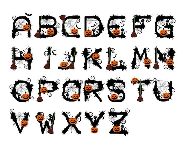 Vecteur alphabet halloween Vecteur Premium