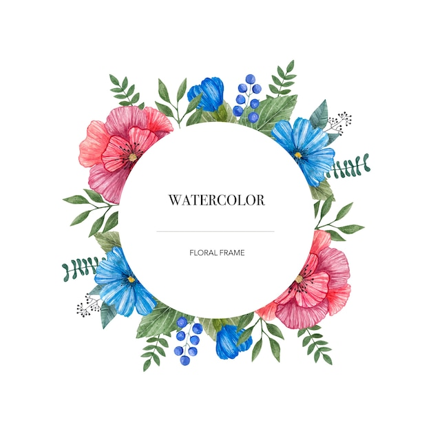 Vecteur aquarelle rond cadre de fleurs sauvages colorées. Vecteur Premium