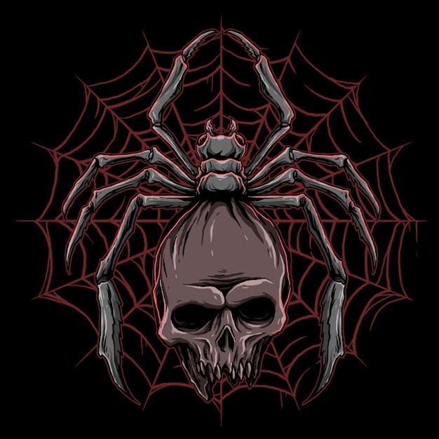 Vecteur D'araignée Avec Illustration De Crâne Vecteur Premium