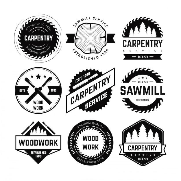 Vecteur de badge de charpenterie Vecteur Premium