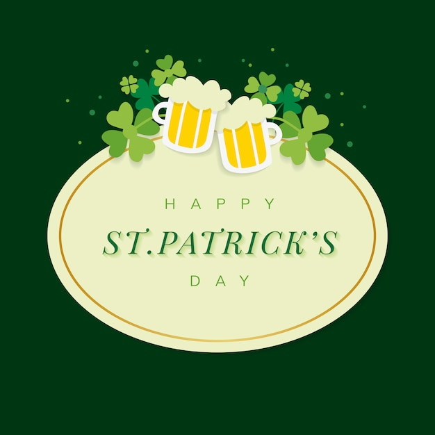 Vecteur de badge ovale st.patrick's day Vecteur gratuit