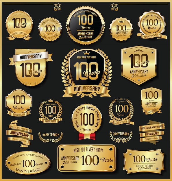 Vecteur de badges et étiquettes d'anniversaire rétro vintage doré Vecteur Premium