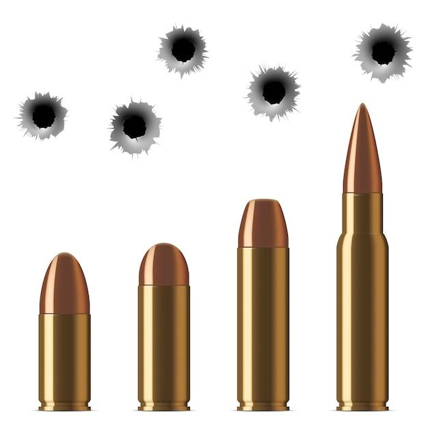 Vecteur des balles de fusil et des trous de balle isolés sur blanc Vecteur Premium