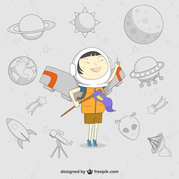 Vecteur de bande dessinée d'enfant d'astronaute Vecteur gratuit